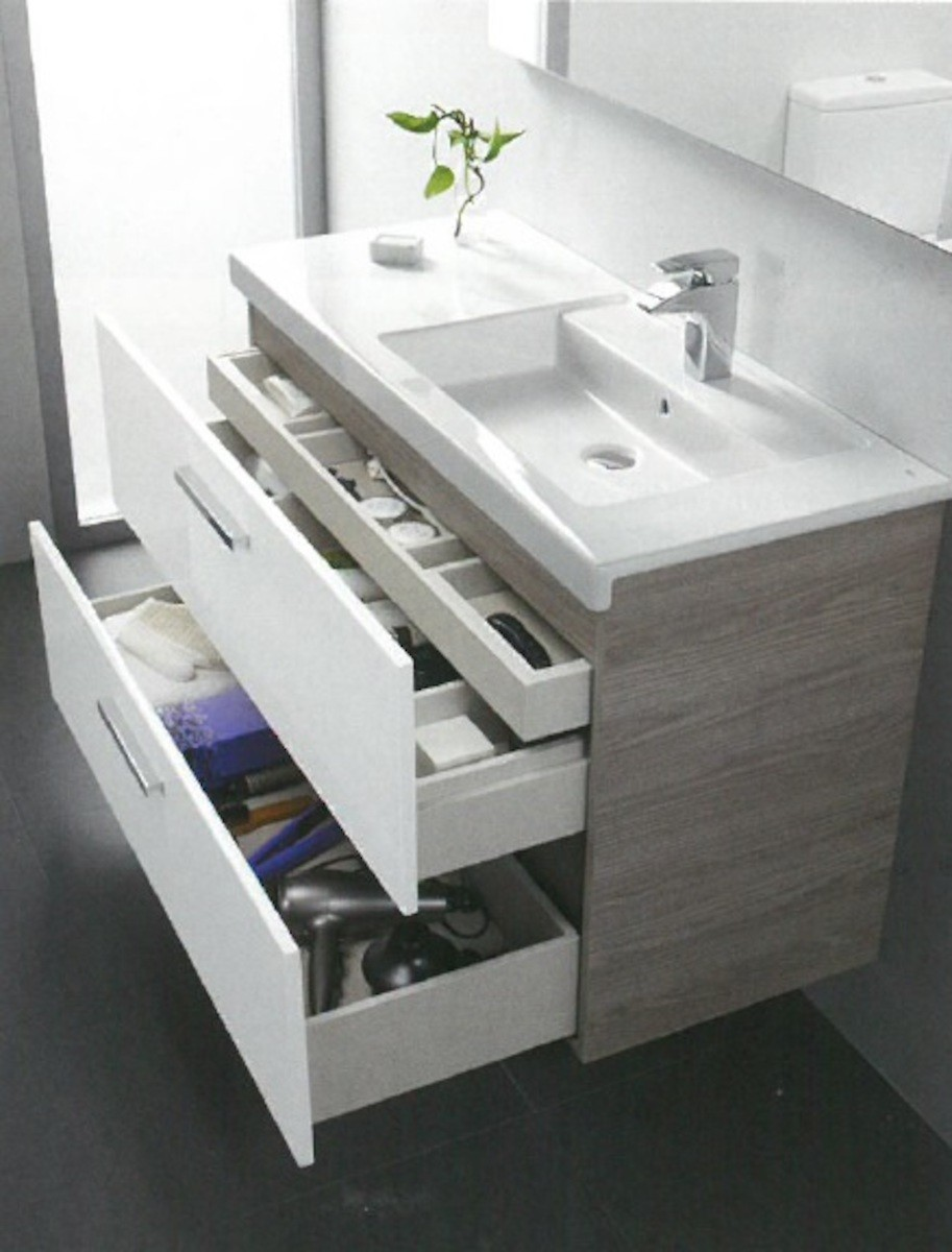 Kúpeľňová skrinka pod umývadlo Roca Prisma 89x46x66,7 cm v kombinácii jaseň / biela lesk A856883322