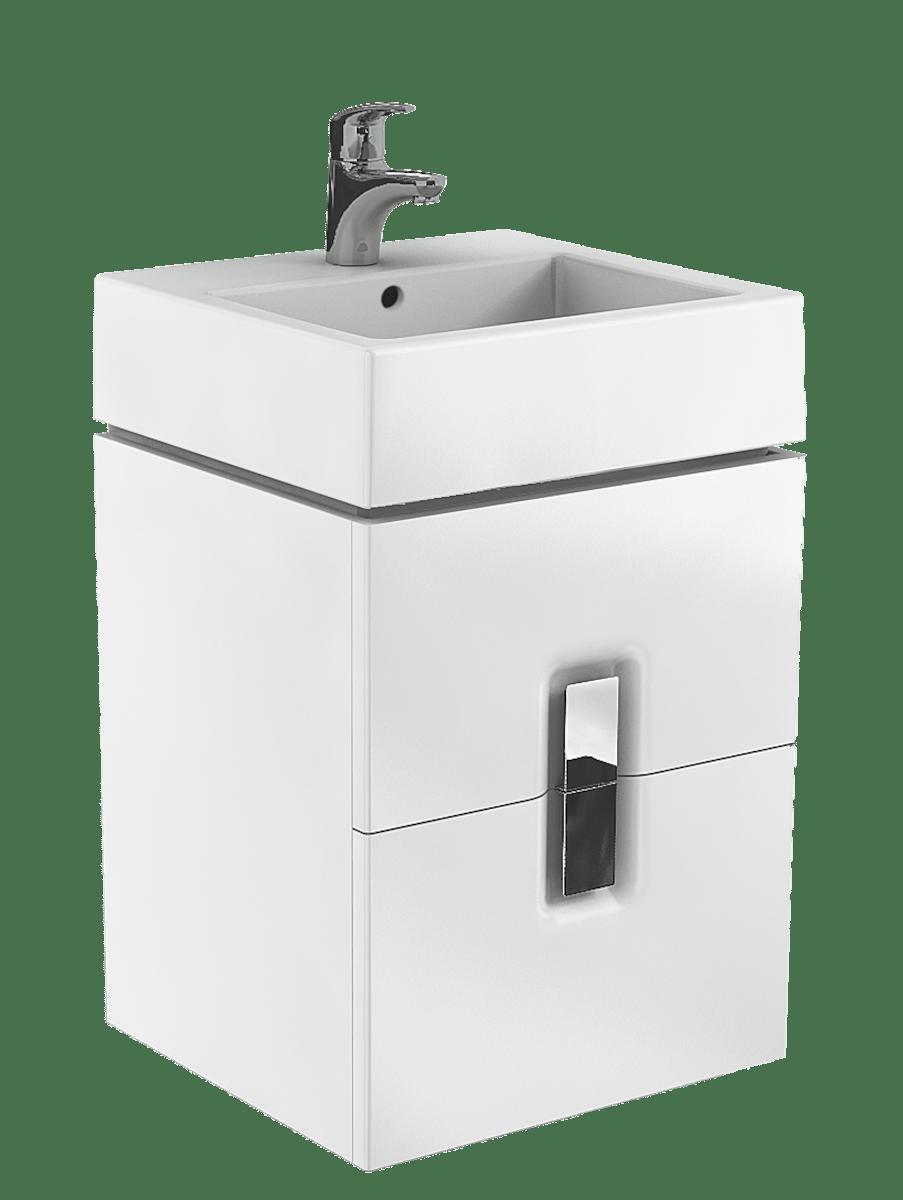Kúpeľňová skrinka pod umývadlo Kolo Twins 50x46x57 cm biela lesk 89489000
