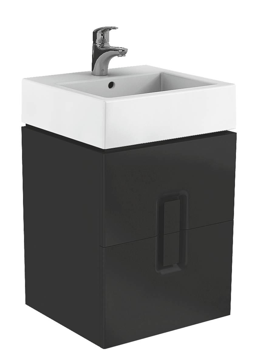 Kúpeľňová skrinka pod umývadlo Kolo Twins 50x46x57 cm čierna mat 89491000