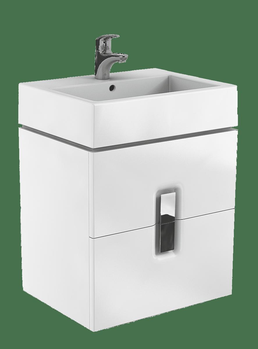 Kúpeľňová skrinka pod umývadlo Kolo Twins 60x46x57 cm biela lesk 89492000