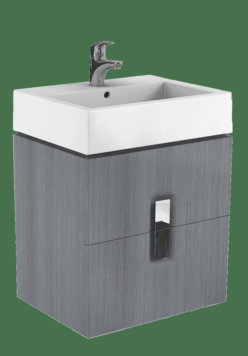 Kúpeľňová skrinka pod umývadlo Kolo Twins 60x46x57 cm v prevedení grafit strieborný 89493000