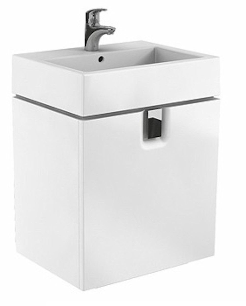 Kúpeľňová skrinka pod umývadlo Kolo Twins 50x46x57 cm biela lesk 89495000
