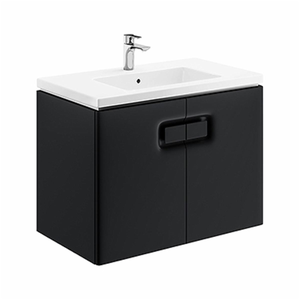Kúpeľňová skrinka pod umývadlo Kolo Twins 80x57x46 cm čierna mat 89549000