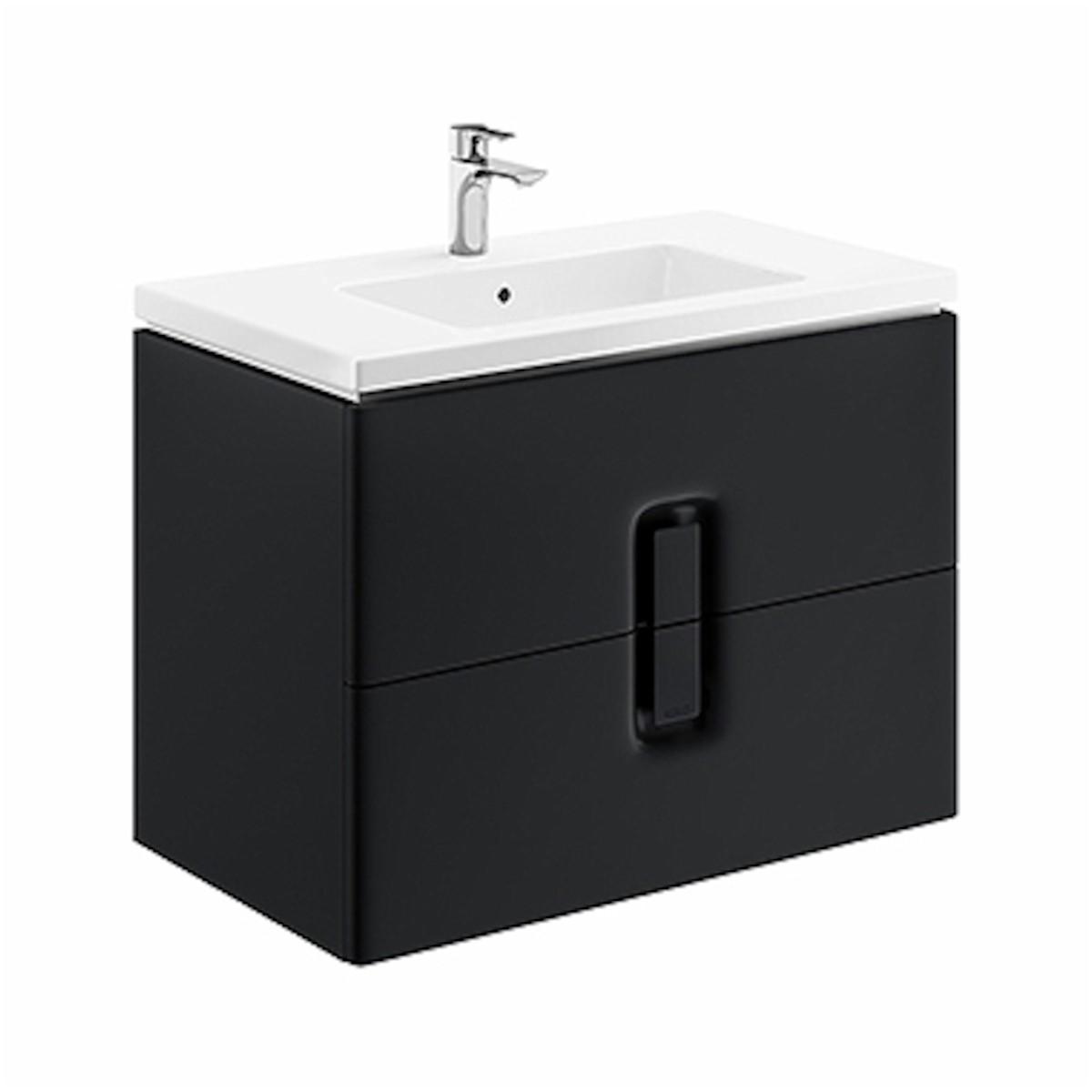 Kúpeľňová skrinka pod umývadlo Kolo Twins 80x46x57 cm čierna mat 89555000