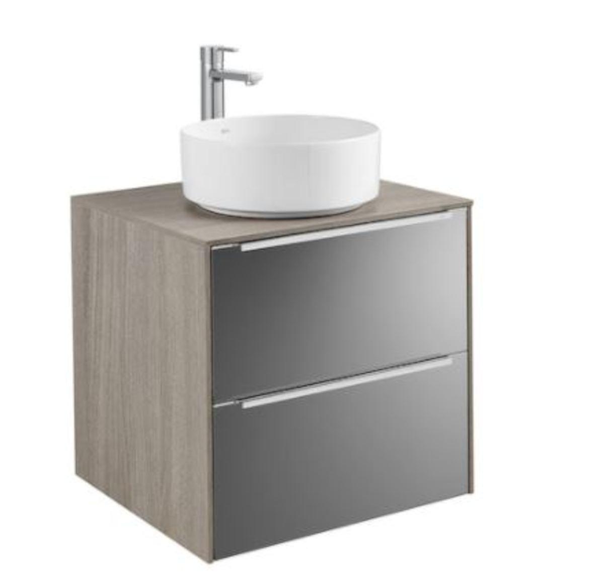Kúpeľňová skrinka pod umývadlo Roca Inspira 60x49,8x54 cm v kombinácii dub / čierne sklo A851079403