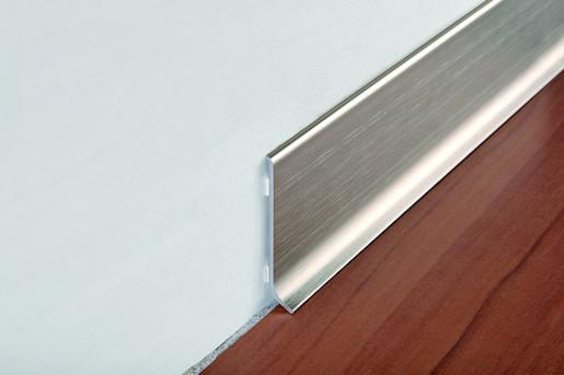 Sokel hliník kartáčovaný lesklý strieborná, dĺžka 200 cm, výška 60 mm, BTBS60