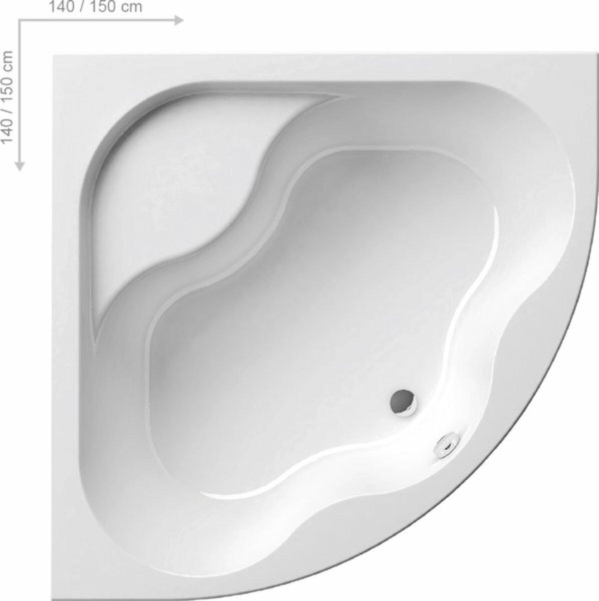 Rohová vaňa Ravak Gentiana 140x140 cm akrylát CF01000000