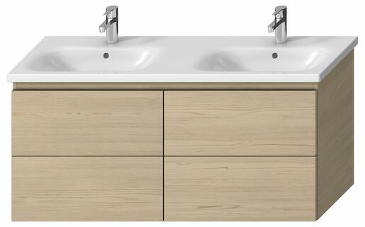 Kúpeľňová skrinka pod umývadlo Jika Mio-N 126x44,5x59 cm v dekore jaseň H40J7184013421