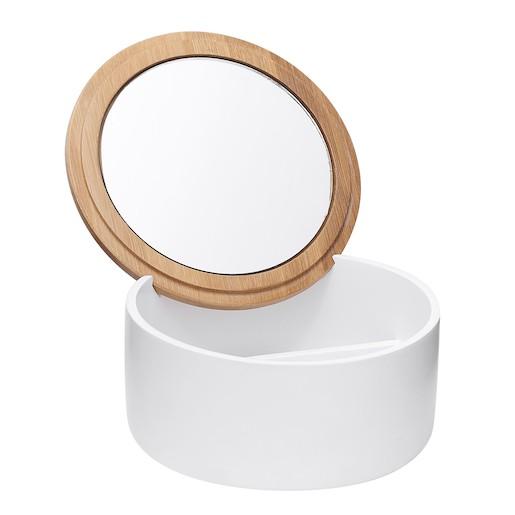 Box s kozmetickým zrkadlom Optima Libra biela/bambus LIB56