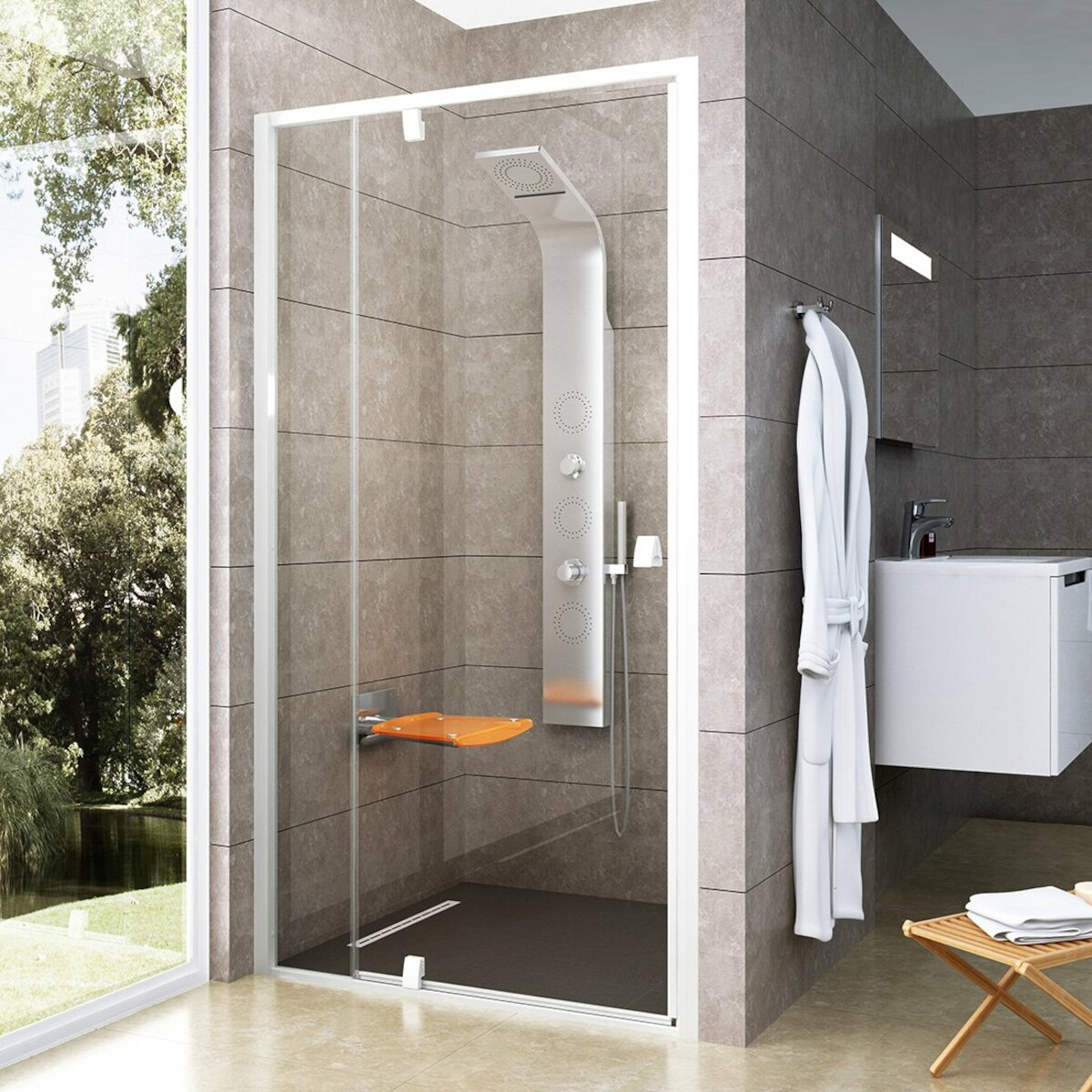 Sprchové dvere 110x190 cm Ravak Pivot biela 03GD0101Z1