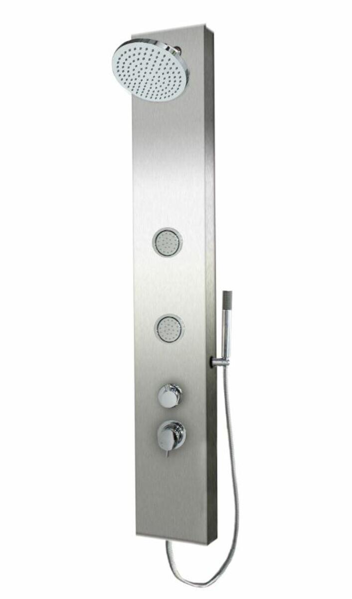 Sprchový panel SIKO na stenu aj do rohu s pákovou batériou nerez PRIMESHOWER