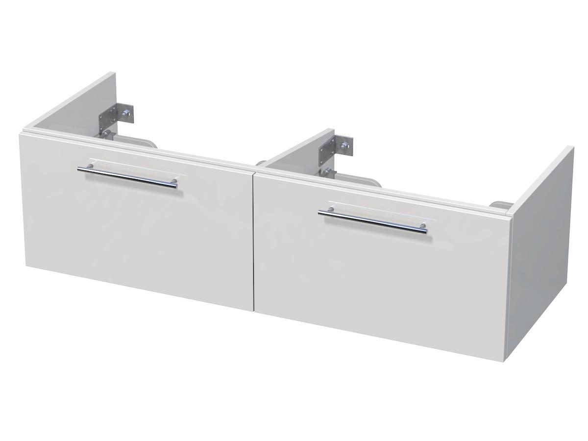 Kúpeľňová skrinka pod umývadlo Naturel Ratio 126x36x44 cm biela lesk PS130D2Z36.9016G