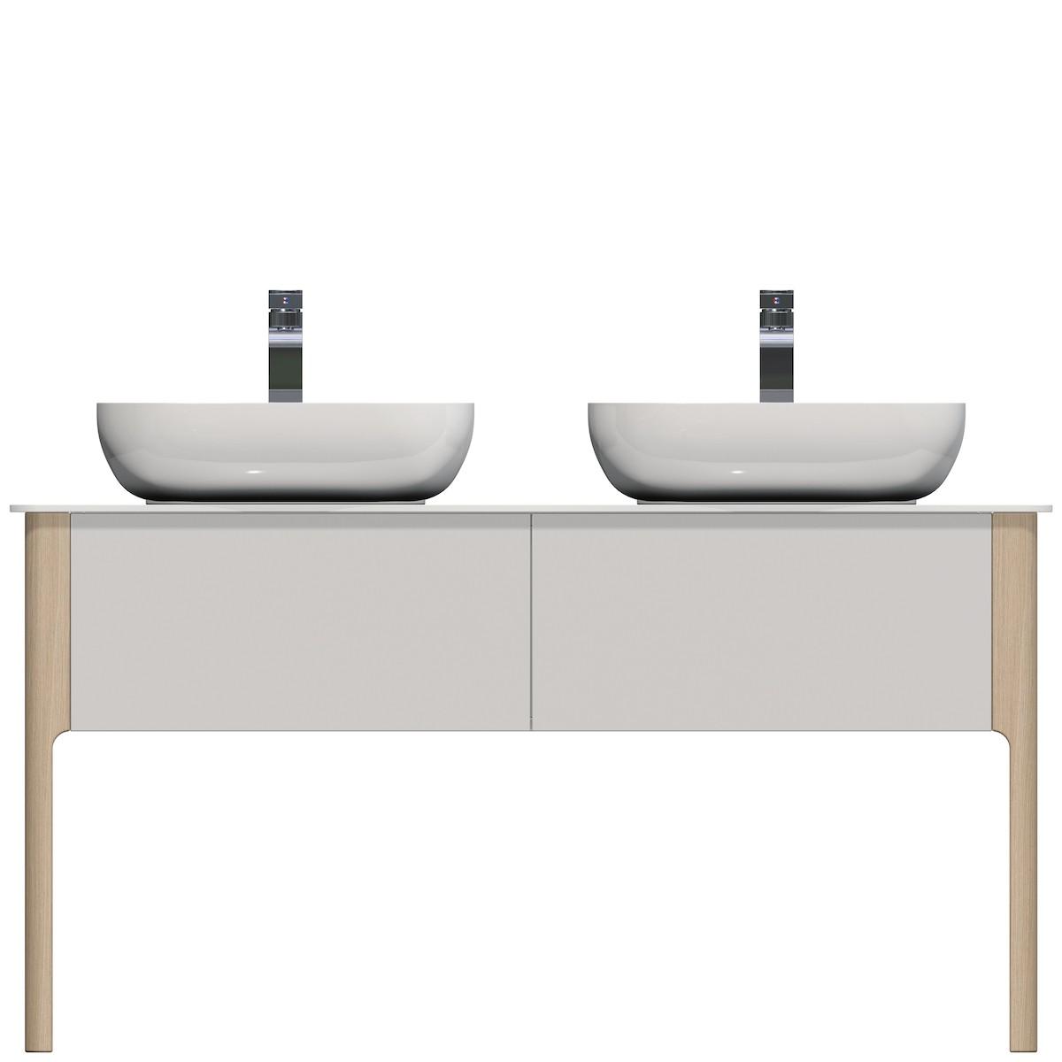 Kúpeľňová skrinka pod umývadlo Naturel Skandinavia 138x55 cm biela SCAN138D.2Z.9016G