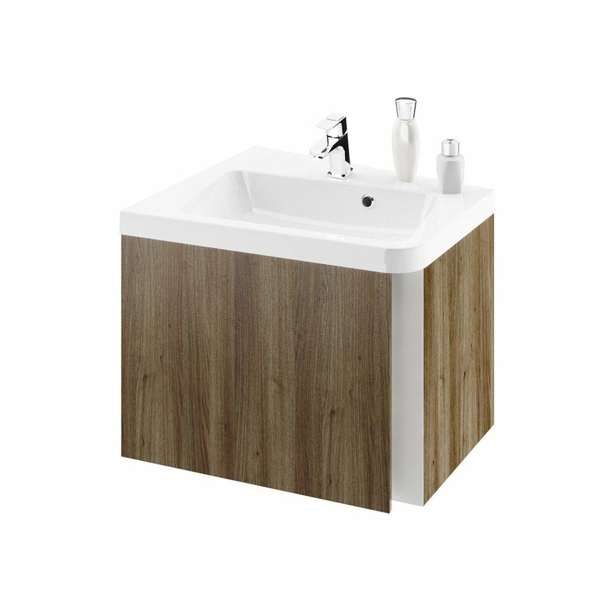 Kúpeľňová skrinka pod umývadlo Ravak 10° 55x49 cm tmavý orech X000000741