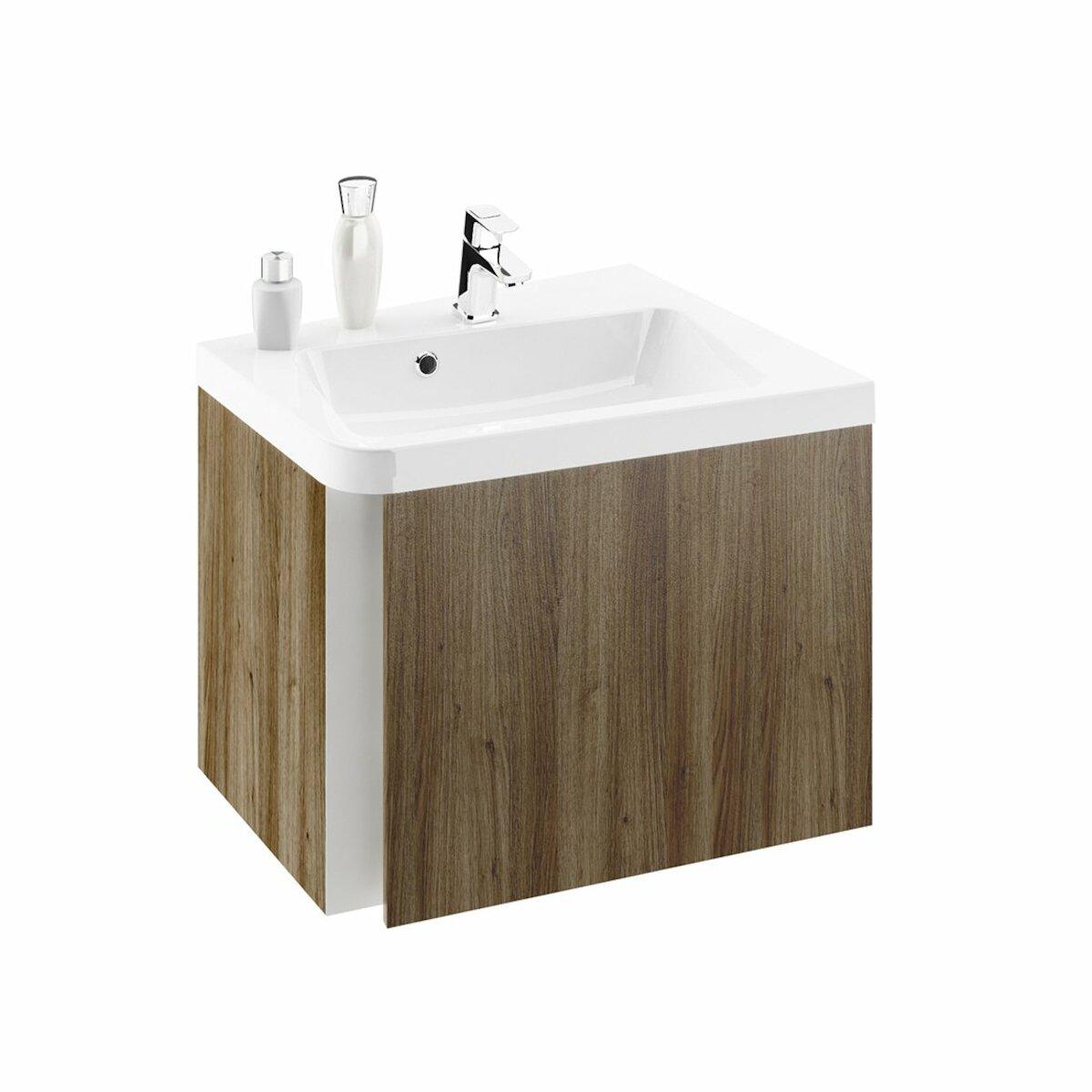 Kúpeľňová skrinka pod umývadlo Ravak 10° 55x49 cm tmavý orech X000000744