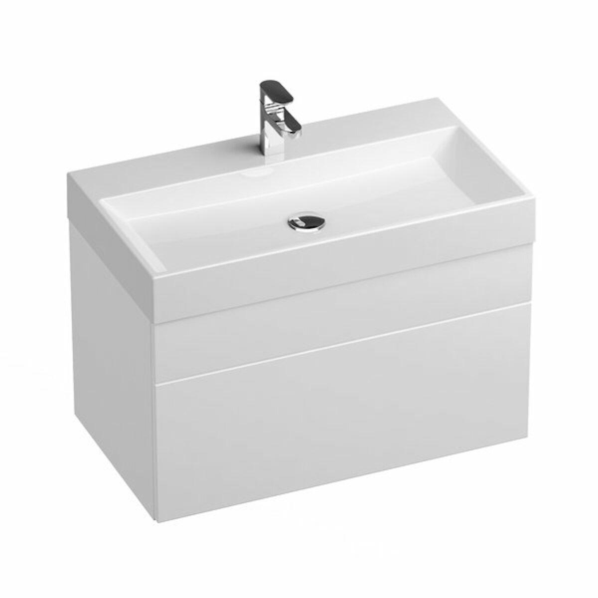 Kúpeľňová skrinka pod umývadlo Ravak Natural 80x45 cm biela X000001052