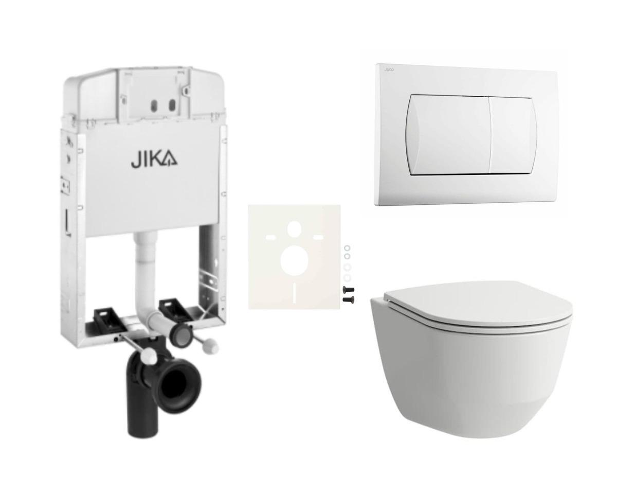 Závesný set WC Laufen, nádržka JIKA, tlačidlo biela SIKOJL1