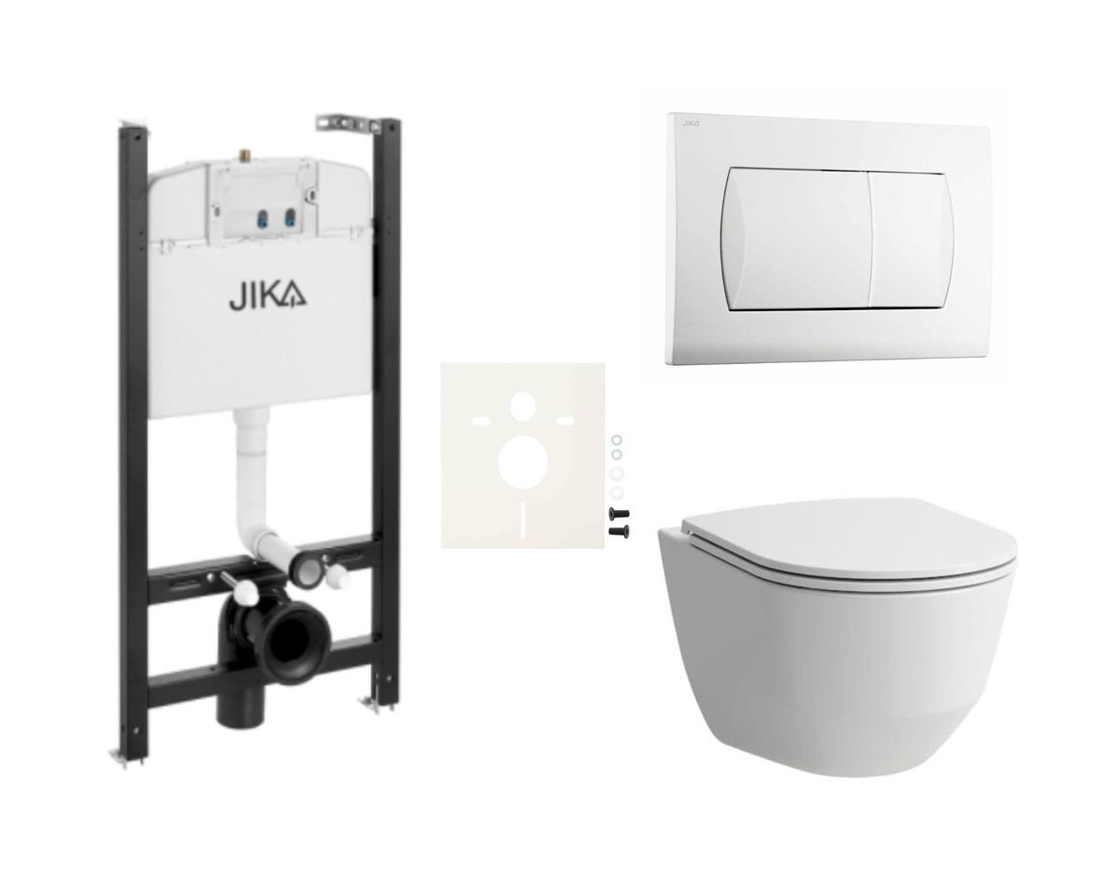 Závesný set WC Laufen, nádržka JIKA, tlačidlo biela SIKOJSL1