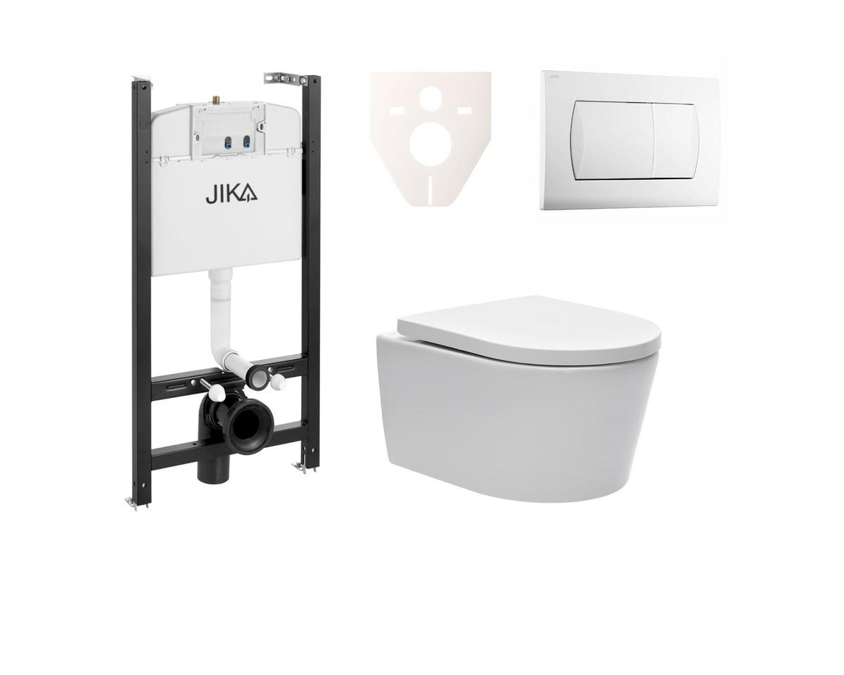Závesný set WC Swiss Aqua Technologies Brevis, nádržka JIKA, tlačidlo biele SIKOJSW1