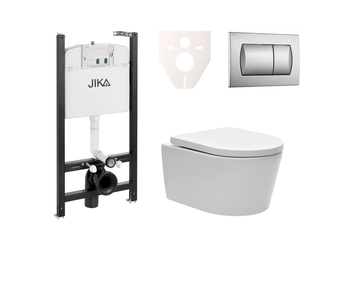 Závesný set WC Swiss Aqua Technologies Brevis, nádržka JIKA, tlačidlo CR mat SIKOJSW3