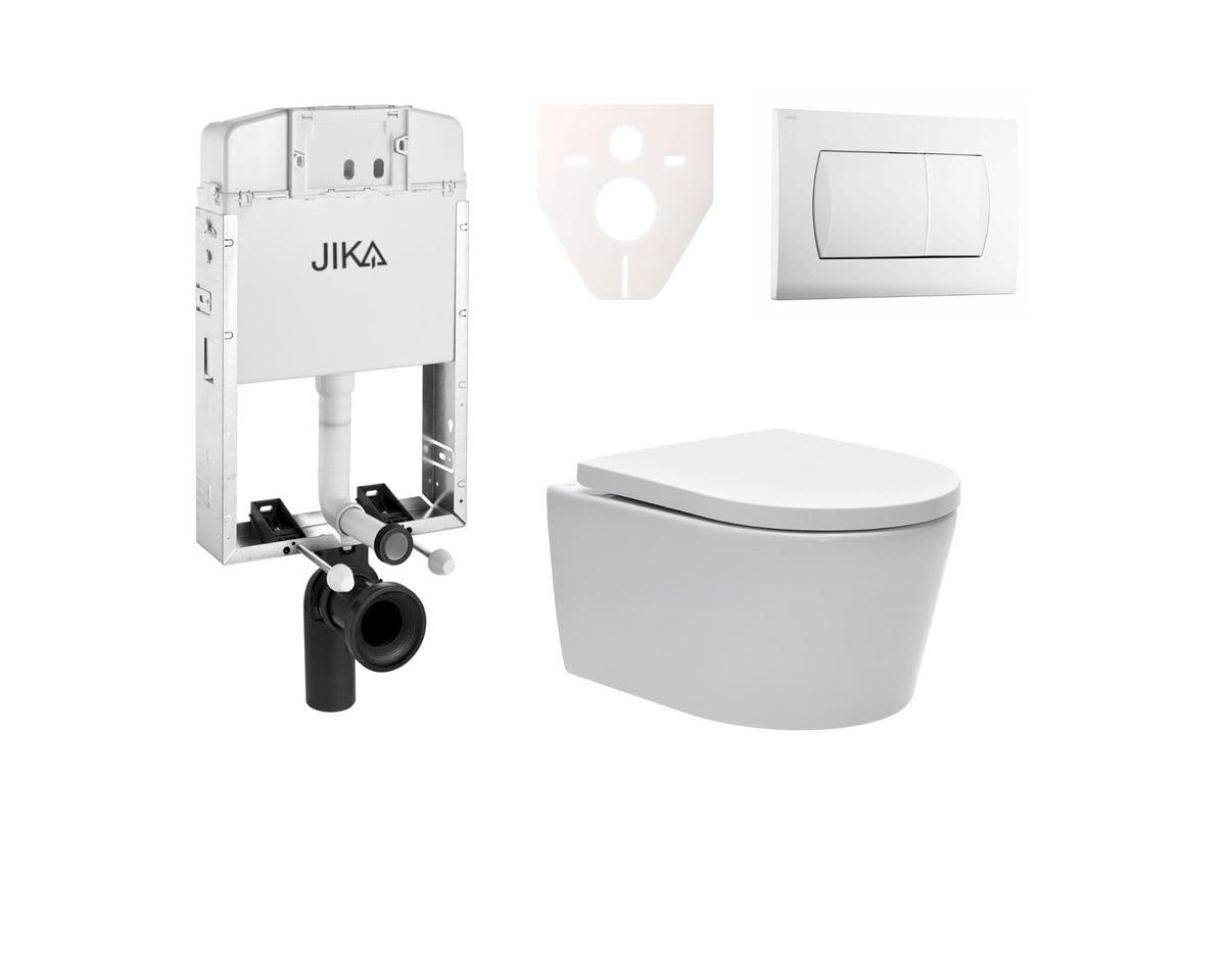 Závesný set WC Swiss Aqua Technologies Brevis, nádržka JIKA, tlačidlo biele SIKOJW1
