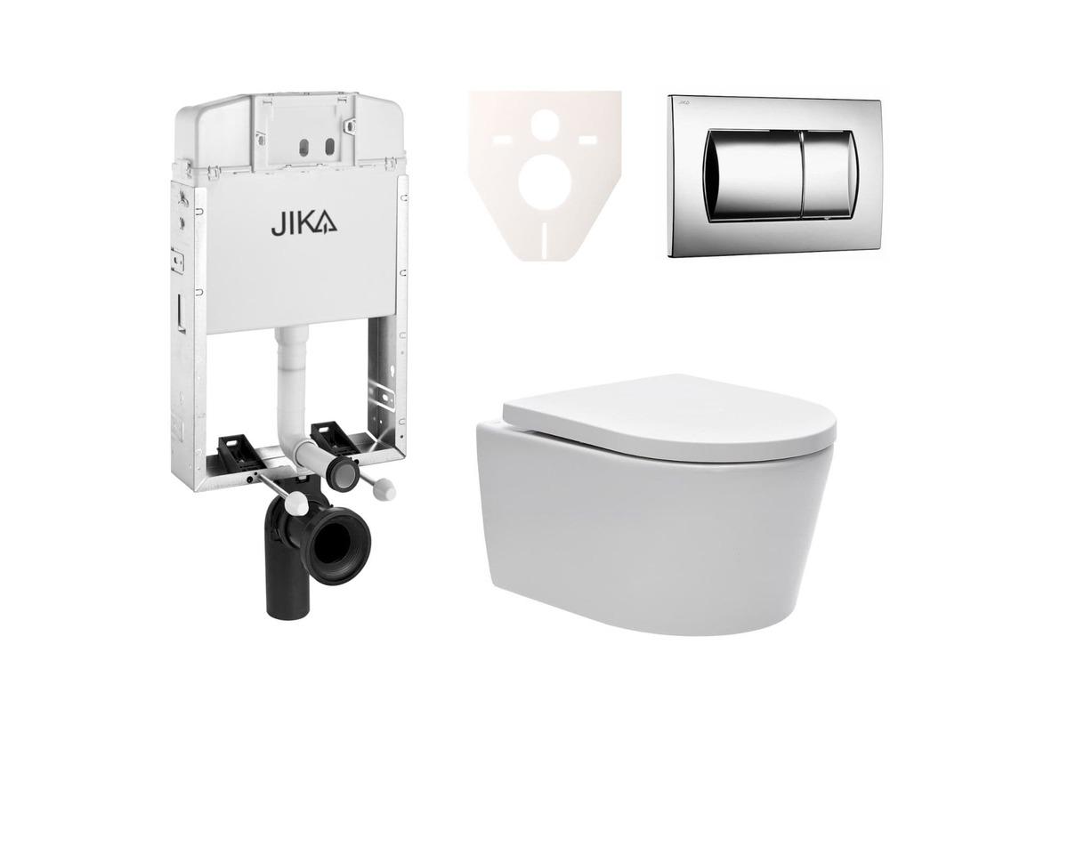 Závesný set WC Swiss Aqua Technologies Brevis, nádržka JIKA, tlačidlo CR lesk SIKOJW2