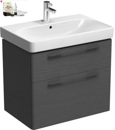 Kúpeľňová skrinka s umývadlom Kolo 75 cm dub šedý SIKONKOT75DS