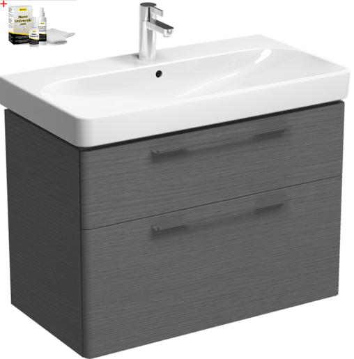 Kúpeľňová skrinka s umývadlom Kolo 90 cm dub šedý SIKONKOT90DS