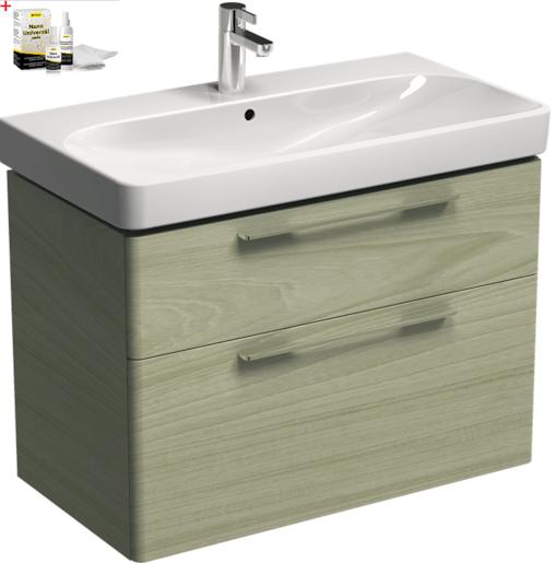 Kúpeľňová skrinka s umývadlom Kolo 90 cm jaseň bielený SIKONKOT90JB