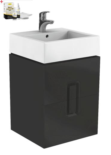 Kúpeľňová skrinka s umývadlom Kolo Twins 50x70 cm čierna mat SIKONKOTW502CM